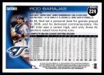 2010 Topps #224  Rod Barajas  Back Thumbnail