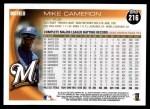 2010 Topps #216  Mike Cameron  Back Thumbnail