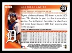 2010 Topps #309  Gerald Laird  Back Thumbnail