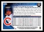 2010 Topps #337  Carlos Zambrano  Back Thumbnail