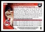 2010 Topps #467  Fausto Carmona  Back Thumbnail