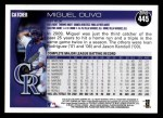 2010 Topps #445  Miguel Olivo  Back Thumbnail