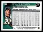 2010 Topps #417  Dallas Braden  Back Thumbnail