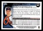 2010 Topps #447  Jeremy Guthrie  Back Thumbnail