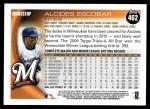 2010 Topps #462  Alcides Escobar  Back Thumbnail