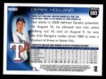 2010 Topps #593  Derek Holland  Back Thumbnail
