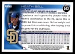 2010 Topps #542  Heath Bell  Back Thumbnail