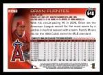 2010 Topps #648  Brian Fuentes  Back Thumbnail