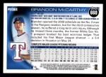 2010 Topps #660  Brandon McCarthy  Back Thumbnail