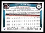 2011 Topps #20  Hanley Ramirez  Back Thumbnail