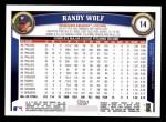 2011 Topps #14  Randy Wolf  Back Thumbnail