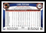 2011 Topps #186  Carl Pavano  Back Thumbnail