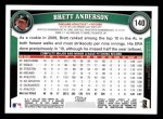 2011 Topps #140  Brett Anderson  Back Thumbnail