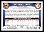 2011 Topps #179  Armando Galarraga  Back Thumbnail