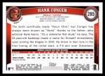 2011 Topps #285  Hank Conger  Back Thumbnail