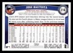 2011 Topps #216  Jose Bautista  Back Thumbnail