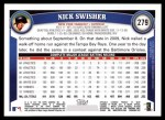 2011 Topps #279  Nick Swisher  Back Thumbnail