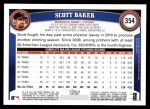 2011 Topps #354  Scott Baker  Back Thumbnail