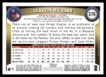 2011 Topps #376  Clayton Richard  Back Thumbnail