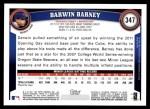 2011 Topps #347  Darwin Barney  Back Thumbnail