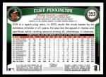2011 Topps #353  Cliff Pennington  Back Thumbnail