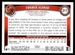 2011 Topps #317  Yonder Alonso  Back Thumbnail