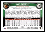 2011 Topps #493  Ryan Sweeney  Back Thumbnail