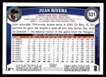 2011 Topps #531  Juan Rivera  Back Thumbnail