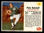 1962 Post Cereal #40  Pete Retzlaff  Front Thumbnail