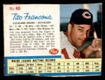 1962 Post Cereal #40  Tito Francona   Front Thumbnail