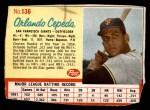 1962 Post #136  Orlando Cepeda   Front Thumbnail