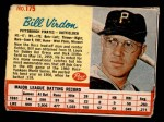 1962 Post Cereal #175  Bill Virdon   Front Thumbnail