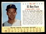 1963 Post #147  Roy Face  Front Thumbnail