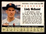1961 Post #175 BOX Lindy McDaniel   Front Thumbnail
