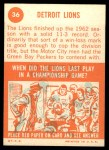 1963 Topps #36   Lions Team Back Thumbnail