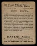 1939 Play Ball #108  Frank 'Blimp' Hayes  Back Thumbnail