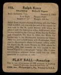 1939 Play Ball #115  Red Kress  Back Thumbnail