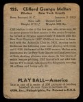 1939 Play Ball #125  Cliff Melton  Back Thumbnail