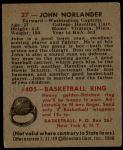 1948 Bowman #27  John Norlander  Back Thumbnail