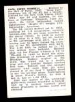 1950 Callahan Hall of Fame  Carl Hubbell  Back Thumbnail