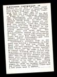 1950 Callahan Hall of Fame  Alexander Cartwright  Back Thumbnail