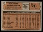 1972 Topps #629  Paul Doyle  Back Thumbnail