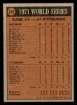 1972 Topps #227   -  Nelson Briles 1971 World Series - Game #5 Back Thumbnail