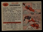 1957 Topps #58 BTH Bill Sherman   Back Thumbnail