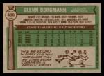 1976 Topps #498  Glenn Borgmann  Back Thumbnail