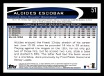 2012 Topps #51  Alcides Escobar  Back Thumbnail