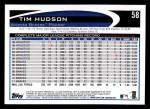 2012 Topps #58  Tim Hudson  Back Thumbnail