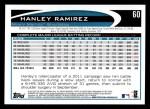 2012 Topps #60  Hanley Ramirez  Back Thumbnail