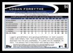2012 Topps #94  Logan Forsythe  Back Thumbnail
