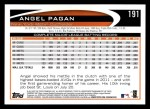 2012 Topps #191  Angel Pagan  Back Thumbnail